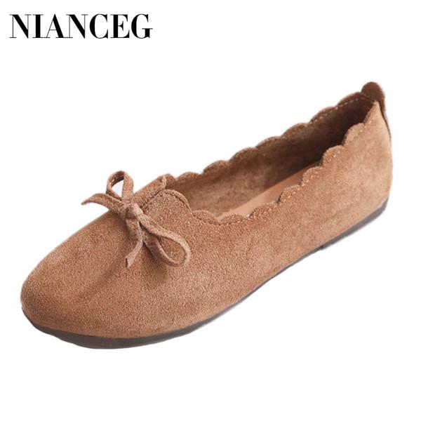 Mujer Pisos Bowknot Primavera Verano Zapatos Planos Mujer Casual Slip On Mules Zapato Suave Inferior Punta Redonda Hembra Mocasines Calzado