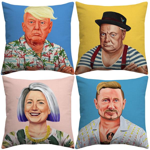 top popular 8 Styles Donald Trump Winston Churchill Cushion Covers Hipster Art Hillary Clinton Vladimir Putin Cushion Cover Linen Pillow Cas 2019