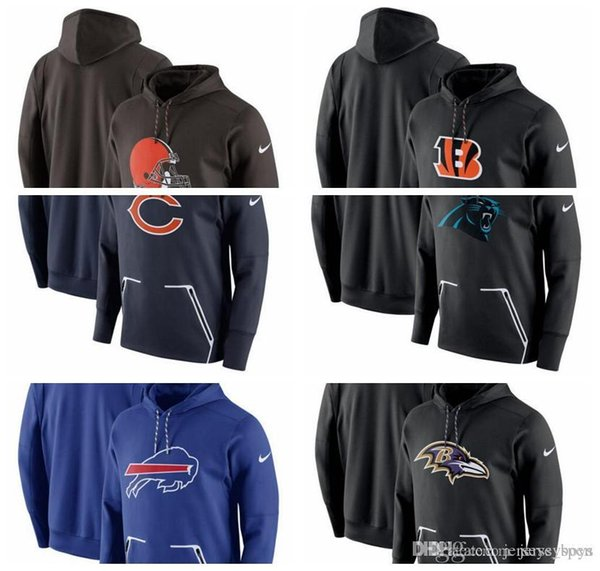 Sudadera con capucha nueva 2019 Cleveland Cincinnati Browns Bengals Chicago Carolina Bears Panthers Buffalo Baltimore Bills Falcons Ravens Atlanta