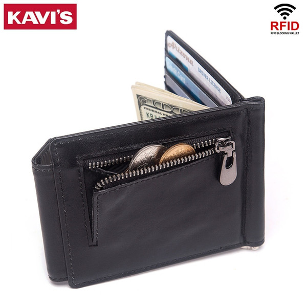Kavis Rfid 100% Genuine Leather Money Clip Top Quality Bifold Male Purse Men Wallet Clamp For Money Case Coin Bag Slim Y19052202