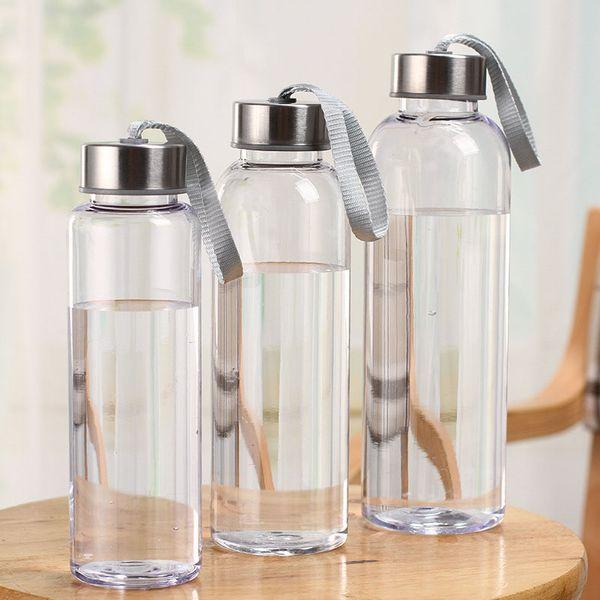 Nuevos deportes al aire libre Botellas de agua portátiles de plástico transparente transparente a prueba de fugas de transporte para botella de agua Studen Drinkware