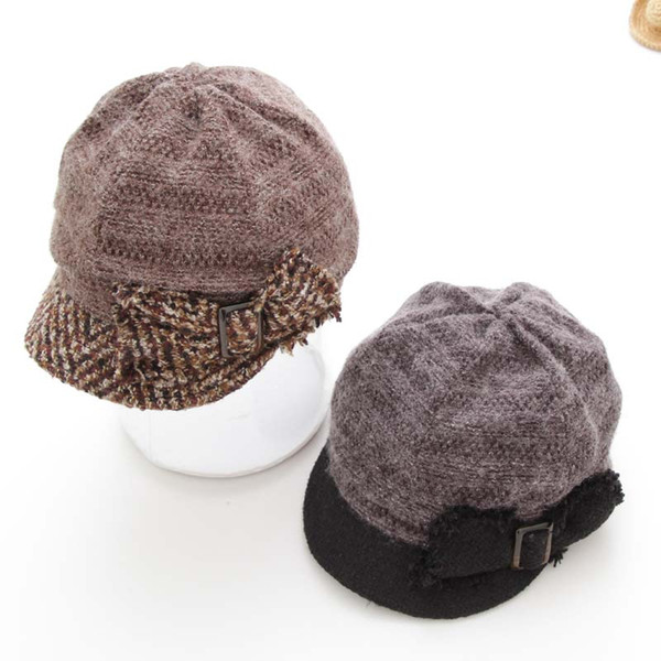 Free shipping High Quality Newsboy caps Lady Vistor Hats Girls Berets Beanies Bonnet Adjustable Warm Short Soft brim Fedoras Bow