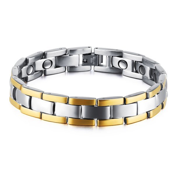 Fashion Healthy Magnetic Bracelet Men's Two-tone Striped Gold Chain Stainless Steel Charm Punk Energy Jewelry 3-GS874