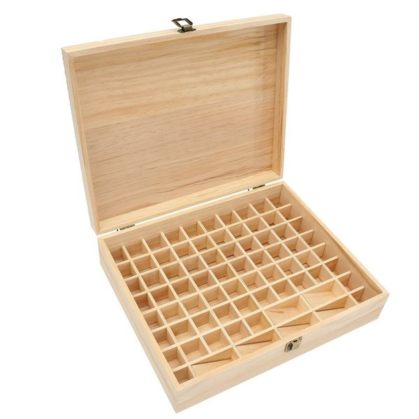 Essential Oils Wooden Box 74 Hole Detachable Bottle SPA YOGA Club Aromatherapy Natural Pine Wood Without Paint