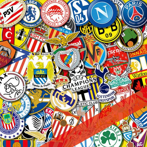 Football Club LOGO Car Sticker Trolley Cartoon Graffiti Tide Brand Travel Skateboard Guitar Luggage car Sticker