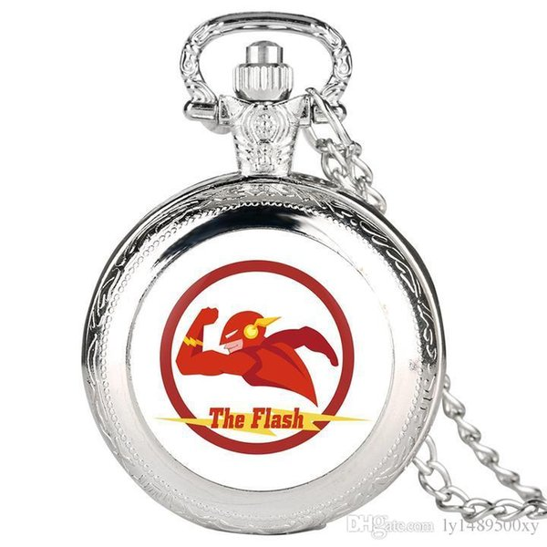 Creativity Silver Pocket Watch for Men, Unique Superman Pattern Alloy Pocket Watches for Boy, Fashion Quartz Watch Pocket Best Gift for Teen