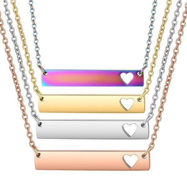 30pcs / lot collana all'ingrosso della barra scava fuori le collane del pendente della barra del cuore arcobaleno oro rosa 5colori choker dell'acciaio inossidabile dei monili