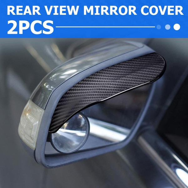 Awnings & Shelters 2pcs Carbon Fiber Look Car Side Rear View Mirror Rain Eyebrow Visor Sun Shade Snow Guard Weather Shield Cover
