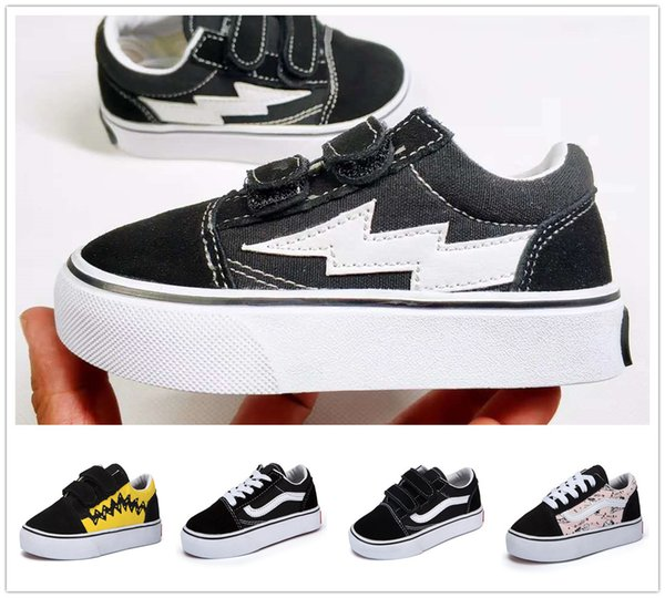 High Quality children shoes infant classic old skool boys girls black white red baby kids canvas skateboard sport sneakers 22-35