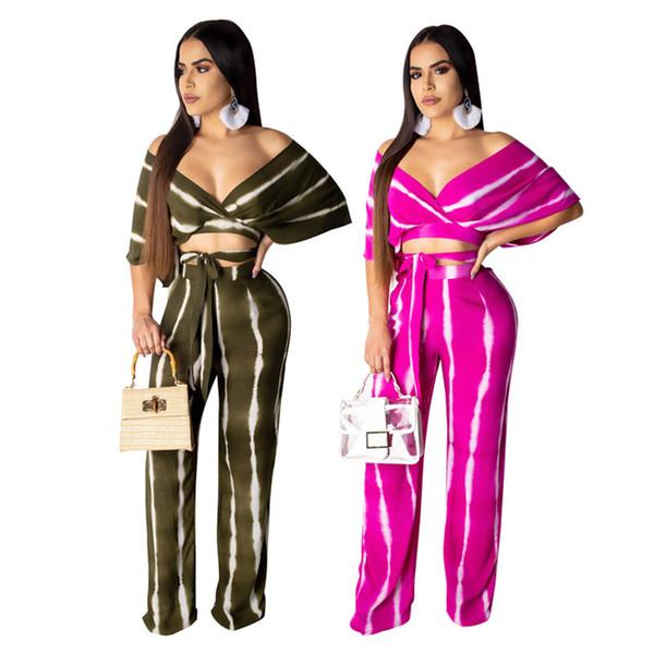 Kadınlar 2 parça set çizgili baskı seksi v yaka kısa kollu backless mahsul en rahat gevşek pantolon yaz moda kıyafetler artı boyutu S-2XL 814
