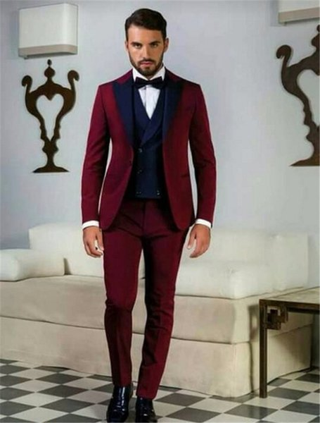 Mode Un Bouton Groomsmen Peak Lapel Groom Tuxedos Hommes Costumes Mariage / Prom / Dîner Meilleur Homme Blazer (Veste + Pantalon + Cravate + Gilet)