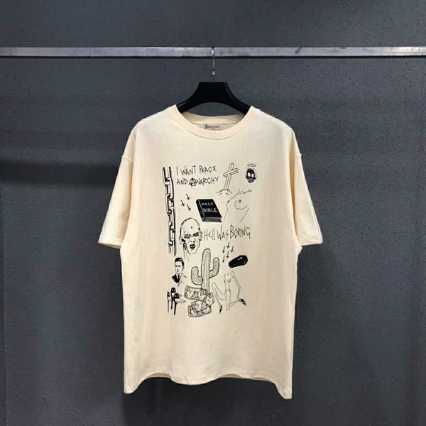2019 nuovo ARNODEFRANCE VINTAGE FOG manica corta slogan graffiti lavato t-shirt in cotone girocollo vecchio S-L