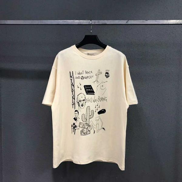 2019 nuevo ARNODEFRANCE VINTAGE FOG manga corta lema graffiti lavado viejo cuello redondo algodón camiseta S-L