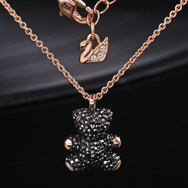 Marques européennes et américaines 100% argent sterling 925 incrusté de collier pendentif ours en cristal naturel est le meilleur cadeau pour les amoureux