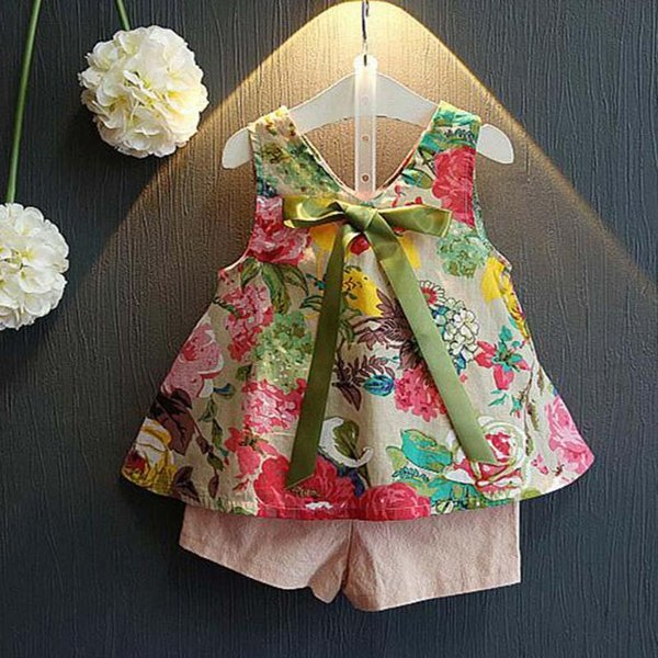 Fashion baby boutique clothes girls clothing sets Summer floral tank vest tops+shorts children suit Girls Outfits kids clothing A1680