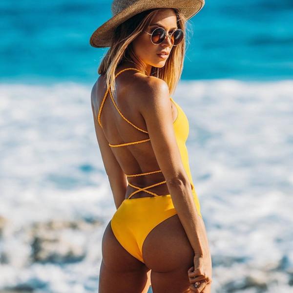 d2f7bcd6b867b 2019 new fashion backless monokini yellow Multi Rope swimwear Brazilian One  Piece swimwear swimsuits women summer