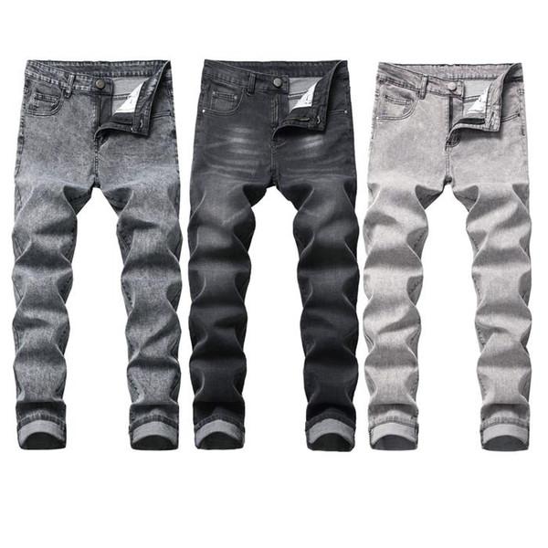 Erkek Streç Kot Tasarımcı Ince Pantolon Dört Mevsim Bel Moda Rahat Pantolon