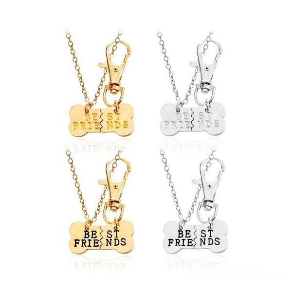 Unique Design BEST FRIENDS Pendants Necklace Keychain Set for Couple Women Silver Gold Color Bone Jewelry Set