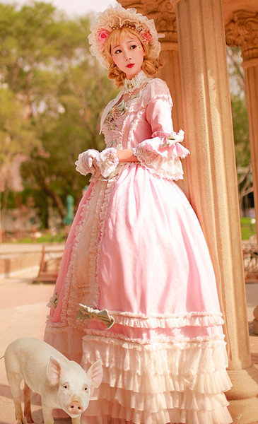 Vintage Fairy Girls Pink Gothic Lolita Quinceanera Dresses 2019 Tiered Lace Bows Formal Vestidos De 16 Anos Ruffles Lovely Prom Party Dress