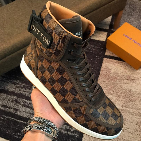 Newst Hot brand Plaid printing sports boots Classic Casual men Lace-up flats Stylish high-top sneakers rubber outsole With original boX