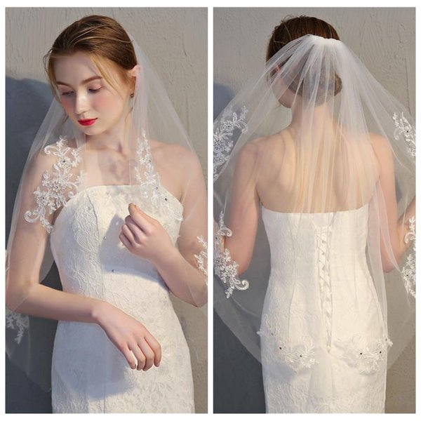 2019 One Layer Lace Appliques Bridal Veil Top Sale Short Bridal Veil Formal Wedding Head Accessories With Comb Short