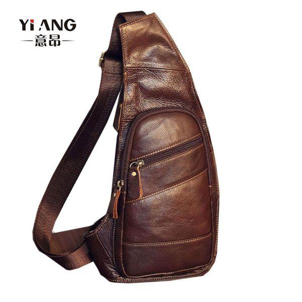 Mens Vintage Genuine Leather Travel Riding Cross Body Messenger Sling Chest Bag