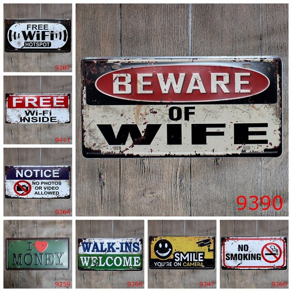15x30cm Vintage License Plates BEARE OF FREE WIFI NOTICE WARNING Iron Painting Wall Sticker Number Plate Metal Craft