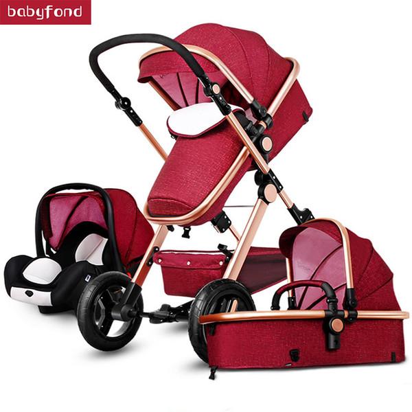 Altın bebek arabası popüler bebek arabası 3 in 1 Ultra hafif ile seyahat zekâ araba seti arabası 2 in 1 3 seyahat etmek