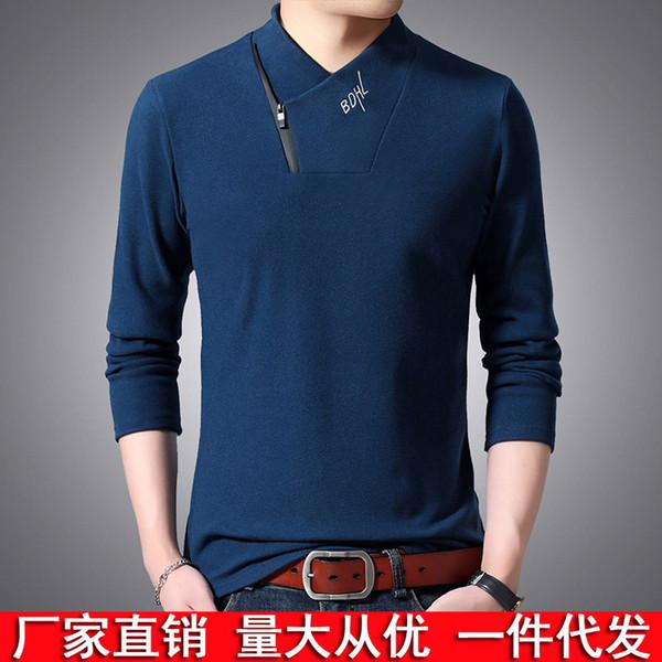New réversible T-shirt personnalité masculine talonnage T-shirt Section mince Oblique Zip collier couleur unie brodé à manches longues T-shirt Homme