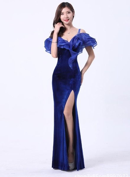 Long Evening Dresses Bodycon Mermaid Prom Dress Off Shoulder High Slit Sexy Women Arabic Formal Gowns For Special Occasion