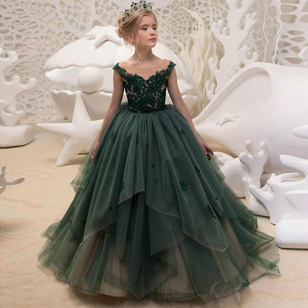 Elegant Ball Gown Flower Girls Dresses for Weddings Sheer Neck Long Train Applique Lace Tulle Children Wedding Dresses Girls Pageant Dress