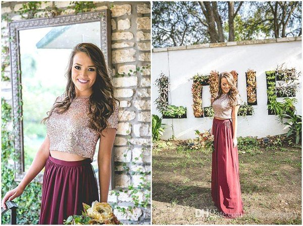 Rose Gold Sequins Long Bridesmaid Dresses A Line Burgundy Chiffon Skirt Maid Of Honor Gowns Wedding Guest Party Dresses Ba6534 Merlot Bridesmaid