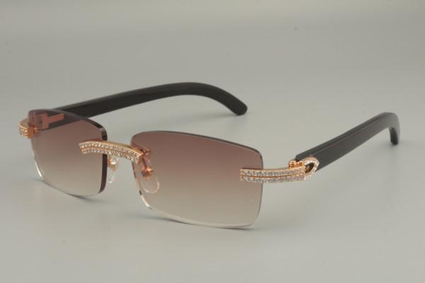 2019 люкс белый двухрядные алмазов очки, натуральный черный / смешанный / белый / различные цвета рога солнцезащитные очки 352412-B, размер: 56-18-140mm