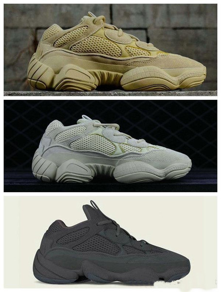 New Desert Rat 500 Salt Super Moon Yellow Utility Black Blush Designer Shoes 500S Cow Leather Running Shoes 3M Reflective Sneakers