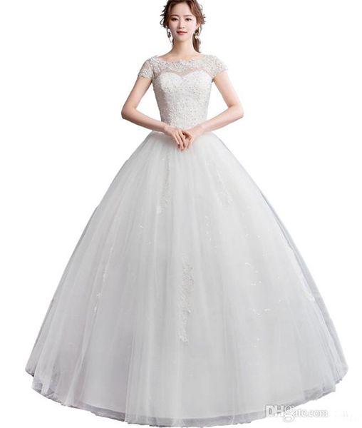 Vestido de fiesta de tul con escote redondo Vestidos de novia con perlas de encaje 2019 Vestidos de novia de novia de longitud IFloor Corset