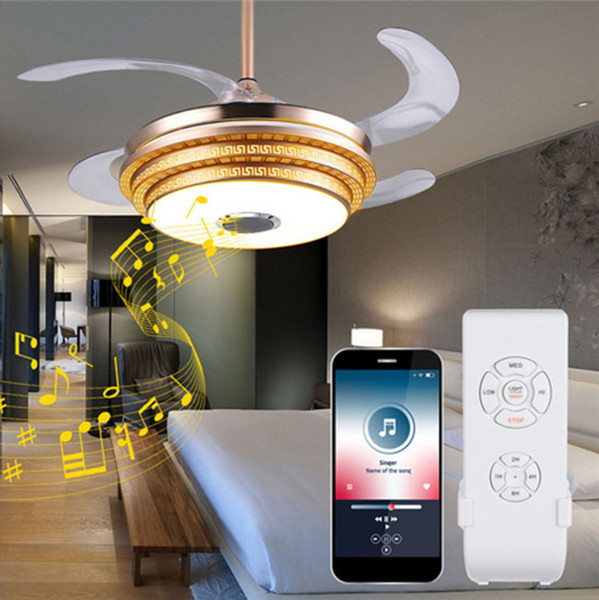 best selling LED Ceiling Fans Light Trendy RGB Color Changing Bluetooth Music Wireless Fan Light With English Remote Control And Manual LLFA