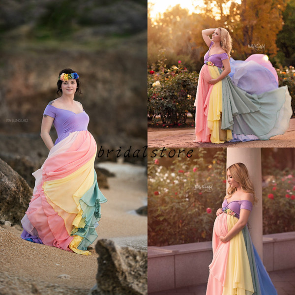 Beautiful Colored Prom Dresses For Pregnant Sexy Off The Shoulder Top spandex Under Chiffon Formal Evening Gowns Pastel Ombre Party Short