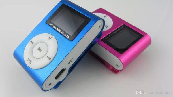 Оптовая торговля розничная мини клип Mp3 музыкальный плеер с ЖК-экран FM-радио портативный цифровой 5 цветов новый Оптовая 50 шт.