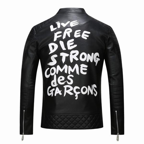 2019 Veste en cuir de luxe pour hommes de la mode en cuir de haute qualité derrière la lettre hommes veste en cuir faux hommes