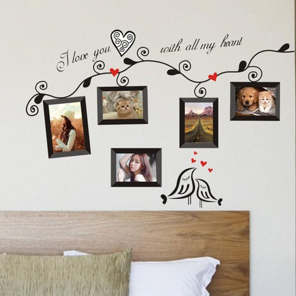 DIY Black Birds Photo Tree Wall Stickers Mural Art Kid Room Decals Photo Frame Adesivo De Parede Living Room Home Decor