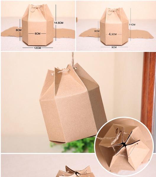 Pappschachtel des braunen Papiers für Paket Kraftpapier-Geschenkverpackungskasten Freude-Süßigkeits-Kasten 9 * 9 * 11cm 60pcs / lot