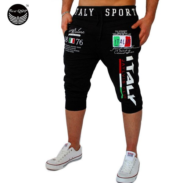 Mens Gym Tights Compression Bermuda Basketball Short Gym Italy Printing Design Sport Men Homme Running Surf Shorts SUWAA Wholesale-Shorts