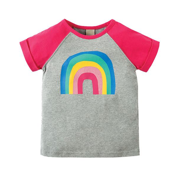 Cotton Kids girls T-Shirt Children Summer Short Sleeve T-Shirts for Girls Clothes Cat Rabit Butterfly Baby T-Shirt tees