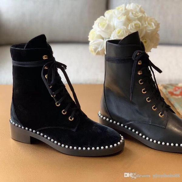 Luxo 2020 novas senhoras da moda inverno sapatos ankle boots de couro verdadeiro anti-derrapante Martin botas botas de neve preto com caixa original