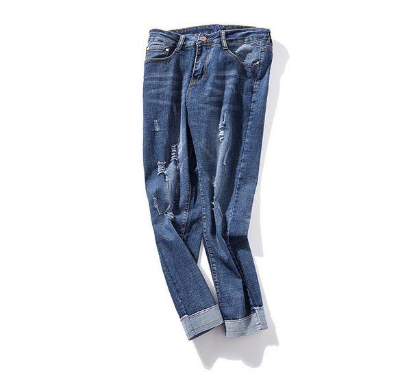 2019 Women High Waist Crimping Holes Pencil Jeans Spring Summer Jean Casual Pants Plus Size Blue Denim Trousers
