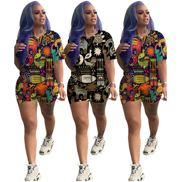 Estilo Tropical Animais Impresso Designer de camisetas Conjuntos de Calções Praia Havaiano Terno Dois Piece Outfit Conjuntos de Férias de Verão Roupas Casuais C7802