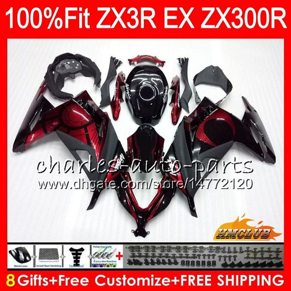 best selling Injection For KAWASAKI NINJA EX 300 ZX 300R 2013 2014 2015 2016 2017 27HC.20 dark red stock ZX3R EX300 R ZX-3R ZX300R 13 14 15 16 17 Fairing