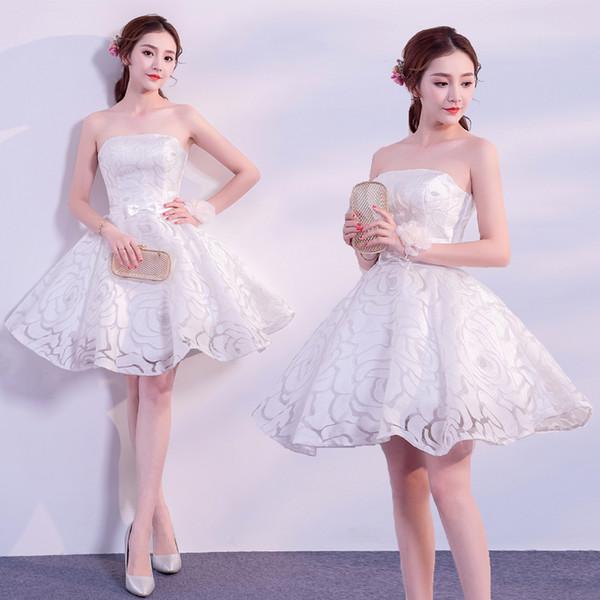 Nuevo blanco 85cm sudor corto dama niña mujer princesa dama de honor banquete vestido de fiesta