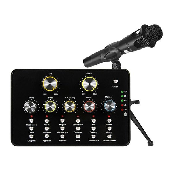 V10 USB Audio Microphone Portable Sound Card Internet Entertainment Personal Streaming Live Sound Applicable To PC Phone