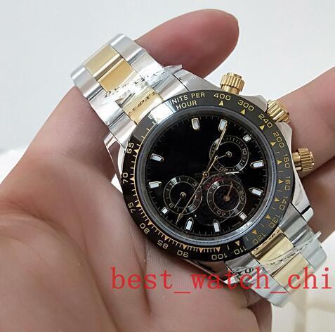2020 Hot vente luxe Qualité cadran noir 40 mm sans Cosmograph 116503 deux tons d'or en acier inoxydable montre mécanique automatique des hommes